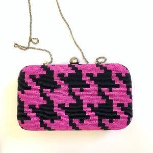 Beaded Frame Bag in Pink Houndstooth NWOT